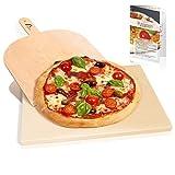 Amazy Pizzastein inkl. Pizzaschaufel und Beileger – Der Ultra-hitzebeständige Brotbackstein verleiht Ihrer Pizza den original italienischen Geschmack knusprig-zarter Steinofenpizza (38 x 30 x 1,5 cm)