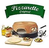 Emerio Pizzaofen, PIZZARETTE das Original, handgemachte Terracotta Tonhaube, patentiertes Design, für Mini-Pizza, echter Familien-Spaß für 6 Personen, Schamott-Pizzastein, PO-116100