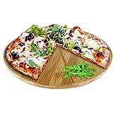 Oriamo® Pizzateller Bambus 33 cm Durchmesser, Schneidbrett aus Holz, schnittfestes Pizzabrett mit 6-facher Einteilung für gleichmäßig große Stücke, Holzteller für Pizza, natur (33 cm)