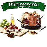 Emerio Pizzaofen, PIZZARETTE das Original, handgemachte Terracotta Tonhaube, patentiertes Design, für Mini-Pizza, echter Familien-Spaß für 8 Personen, PO-116124