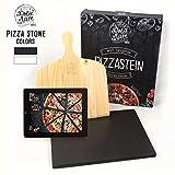 DOLCE MARE Pizzastein Schwarz - Pizza Stein aus hochwertigem Cordierit für den Backofen & Grill - Backstein für knusprige Pizza wie beim Italiener - Inkl. Pizzaschieber - Brotbackstein | Backstein