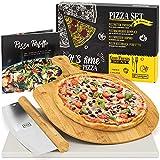 GARCON Pizzastein für Backofen und Gasgrill - 4er Set - [1x] Pizza Stone, [1x] Pizzaschieber, [1x] Pizzaschneider & [1x] Kochbuch zum Pizza Backen